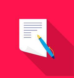 paper and pen icon flat single education icon vector image