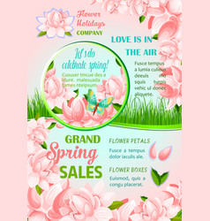 Spring holiday flowers festive poster design vector