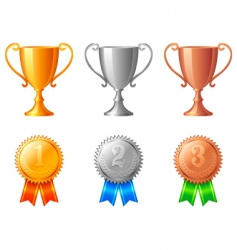 trophy cups and medals vector image vector image