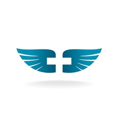 Wings and cross logo vector image
