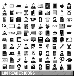 100 reader icons set simple style vector image vector image
