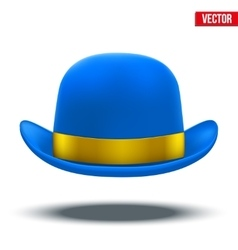 Blue bowler hat on a white background vector image
