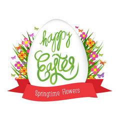 easter egg poster with label springtime flowers vector image vector image