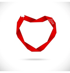 heart made from red paper ribbon vector image vector image