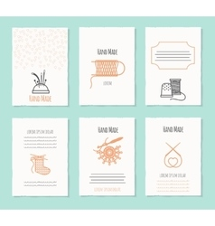 Needlework hand made card templates vector image vector image