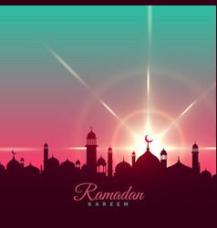 ramadan kareem greeting background with mosque vector image