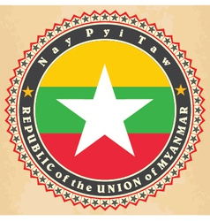 Vintage label cards of Myanmar flag vector image vector image