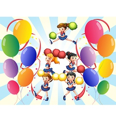 A cheering squad in the middle of the balloons vector