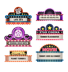 american motel and movie retro signs with light vector image