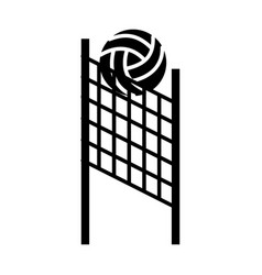 Black icon volleyball net and ball cartoon vector