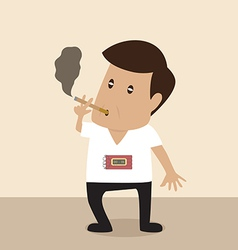 Man is smoking with bomb timer vector