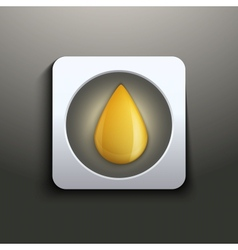 Oil button with yellow drop vector image vector image