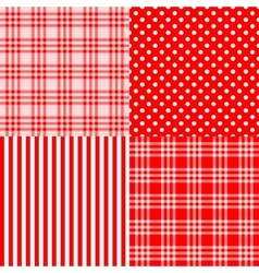 red seamless patterns striped plaid spotted vector image vector image