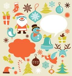 retro christmas design elements vector image vector image