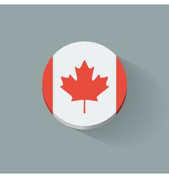 Round icon with flag of Canada vector image vector image