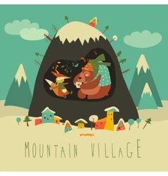 Snow covered village by the mountain with bear and vector