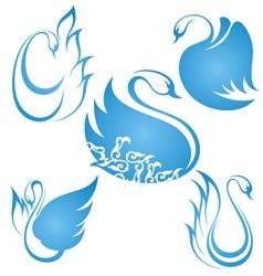 Swan symbol set vector image vector image