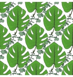 Tropical green leaves pattern vector image vector image
