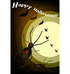 Two Evil Spiders on Full Moon Background vector image