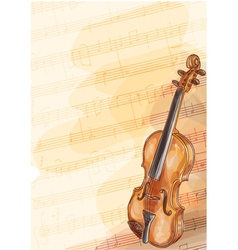 Violin on music background with handmade notes vector image
