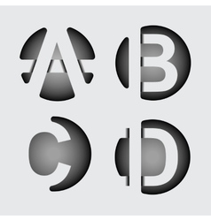 Capital letter A B C D of wide white stripes vector image vector image
