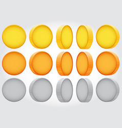 coin rotation gold copper silver vector image