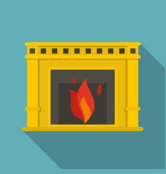 fireplace with fire burning icon flat style vector image