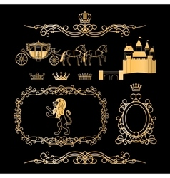 Golden vintage royal elements vector image vector image