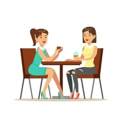Happy Best Friends Drinking Coffee In Cafe Part vector image