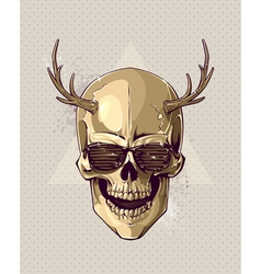 Hipster gold skull vector image vector image