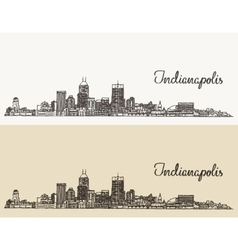 Indianapolis skyline engraved hand drawn vector image