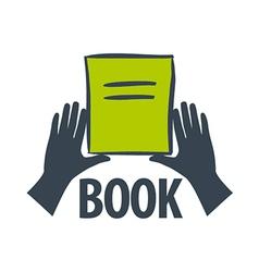 logo hand holding a book vector image