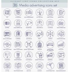 Media advertising outline icon set Elegant vector image vector image