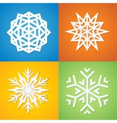 Paper Snowflakes on Colorful Background vector image