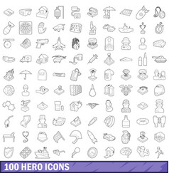 100 hero icons set outline style vector