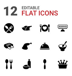 12 dinner icons vector image