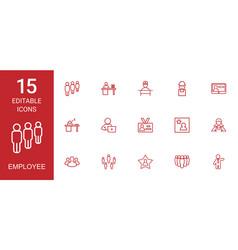 15 employee icons vector image