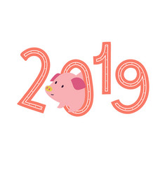 2019 print with cute piggy vector image