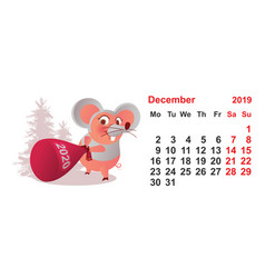 2019 year december calendar template pig mask vector image