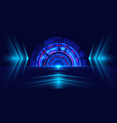 Abstract technology blue circle light beam and vector