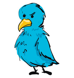 Angry blue bird on white background vector