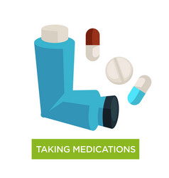 asthma taking medications inhaler and pills vector image