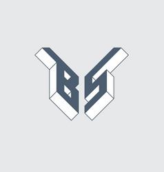 B5 - monogram or logotype isometric 3d font for vector