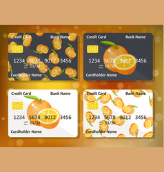 bank credit card design with sweet oranges vector image