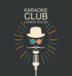 Banner for karaoke club with man and microphone vector
