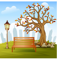 beautiful autumn city park with town building back vector image