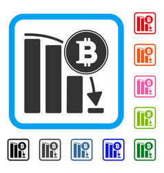 bitcoin falling chart framed icon vector image