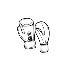 boxing gloves hand drawn outline doodle icon vector image
