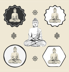 buddha statue buddhism icon flat web sign symbol vector image