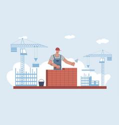 builder builds brick wall worker in uniform vector image
